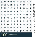 100 bank icons | Shutterstock .eps vector #201499127