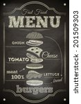 Burger Menu Poster on Chalkboard. Hamburger Ingredients. Vector Illustration.