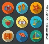 summer holidays flat icons set ...