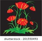 garden red flowers | Shutterstock .eps vector #201550493