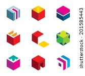 puzzle cube maze box arrow... | Shutterstock .eps vector #201585443