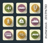vector design flat travel icons ... | Shutterstock .eps vector #201596783
