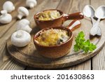 mushrooms baked with cheese... | Shutterstock . vector #201630863
