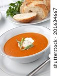 two bowls of lobster bisque... | Shutterstock . vector #201634667