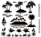 tropical set  sea island with... | Shutterstock .eps vector #201656603