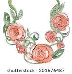 watercolor flower ornament | Shutterstock .eps vector #201676487