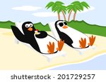 Two Penguins Relaxing On The...