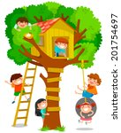 children playing in a tree house | Shutterstock .eps vector #201754697