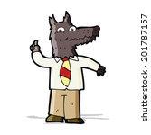 cartoon business wolf with idea | Shutterstock .eps vector #201787157