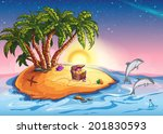 illustration treasure island at ... | Shutterstock .eps vector #201830593