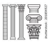Set of Doric, Ionic and Corinthian Columns - stock vector
