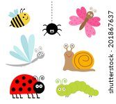 Cute Cartoon Insect Set....