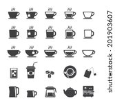 coffee cup and tea cup icon set | Shutterstock .eps vector #201903607