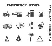 emergency icons  mono vector... | Shutterstock .eps vector #201906523