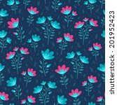 floral bright seamless pattern... | Shutterstock .eps vector #201952423