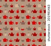 seamless tea time background   Shutterstock .eps vector #201981463