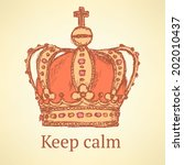 sketch crown  vector vintage... | Shutterstock .eps vector #202010437