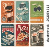 vintage collection of food and...   Shutterstock .eps vector #202056913