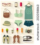 fashion vector set | Shutterstock .eps vector #202058863