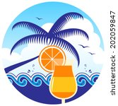 vector cocktail on the beach in ... | Shutterstock .eps vector #202059847