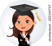 beautiful graduation girl.... | Shutterstock .eps vector #202144747
