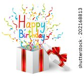 birthday gift box with color... | Shutterstock .eps vector #202168813