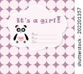 baby girl arrival card. baby... | Shutterstock .eps vector #202201357