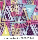 Abstract ethnic seamless pattern in style of primitive culture. Ethnic vector background.Grunge background.Triangles  pattern. - stock vector