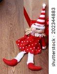 christmas toy santa little girl ... | Shutterstock . vector #202344883