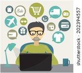 online shopping concept | Shutterstock .eps vector #202394557