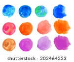 watercolor hand painted circle...   Shutterstock . vector #202464223