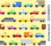 pixel art cars seamless vector... | Shutterstock .eps vector #202488853