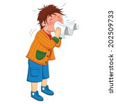 kid sneeze vector illustration | Shutterstock .eps vector #202509733