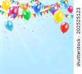 colorful birthday balloons ... | Shutterstock . vector #202525123