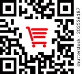 qr code label sign with red... | Shutterstock .eps vector #202536187