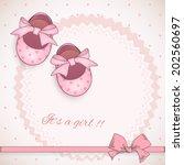 baby girl shower card. | Shutterstock .eps vector #202560697