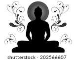 silhouette of buddha   thailand | Shutterstock . vector #202566607
