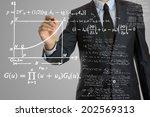 businessman writing math... | Shutterstock . vector #202569313