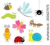 cute cartoon insect set.... | Shutterstock .eps vector #202627573