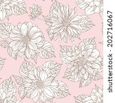 seamless pattern with dahlias | Shutterstock .eps vector #202716067