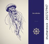 Hand Drawn Jellyfish. Vector...