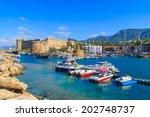 boats in a port in kyrenia ... | Shutterstock . vector #202748737