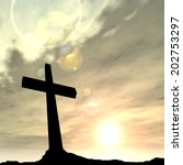 concept conceptual black cross... | Shutterstock . vector #202753297