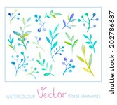 set of vector watercolor floral ... | Shutterstock .eps vector #202786687
