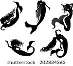mermaids. just silhouettes of... | Shutterstock .eps vector #202834363