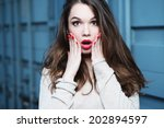 portrait of a beautiful... | Shutterstock . vector #202894597