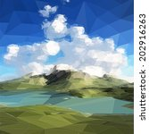 low poly landscape. mountains ... | Shutterstock .eps vector #202916263
