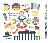 Germany Berlin germanic elements collection illustration  - stock vector