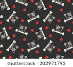 seamless pattern with dog  bone ... | Shutterstock .eps vector #202971793