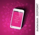 realistic pink smartphone... | Shutterstock .eps vector #202992847